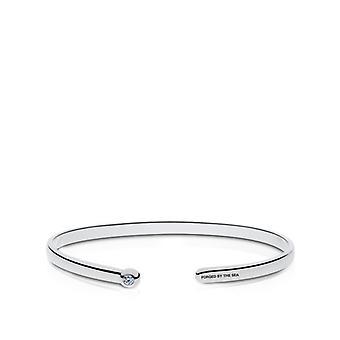 US Navy Engraved Sterling Silver Diamond Cuff Bracelet