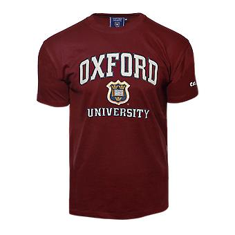 Unisex oxford university™ applique embroidered t shirt maroon