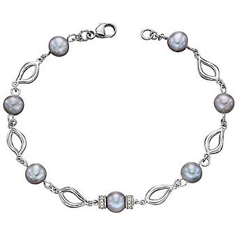 Elements Gold Pearl and Diamond Bracelet - Grey/Silver