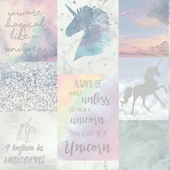 Arthouse Unicorn collage patroon behang Childrens glitter paard 698300