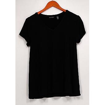 H de Halston Women's Top Essentials V-Neck W/ Forward Seams Black A306231