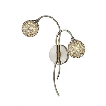 Diyas Apollo Wall Lamp 2 Light Satin Nickel/Crystal