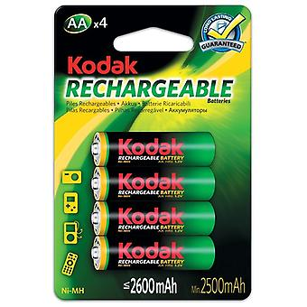 4x Kodak rechargeable AA battery NiMH  2600 mAh batteries