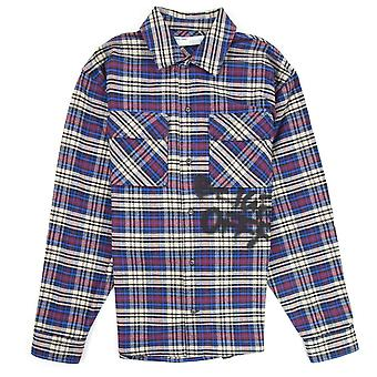 OFF-WHITE Off White Checked Oversized Flannel Shirt Blue/black