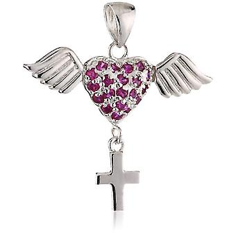 Pending Pasonist in Silver Sterling 925 at Heart Shape with Wings and 605272 Cross
