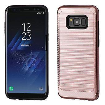 ASMYNA Rose guld/sort børstet hybrid sag (w/carbon fiber accent) til Galaxy S8 plus