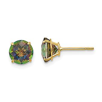 14k Yellow Gold Polished Round Mystic Topaz 6mm Post Earrings
