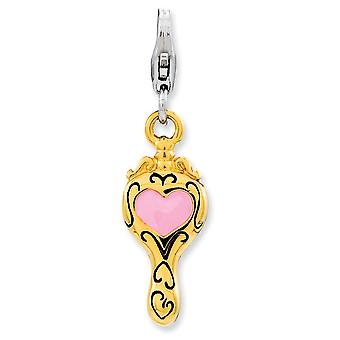 925 Sterling Silver Rhodium plated Fancy Lobster Closure Enameled 3 d Gold Flashed Love Heart Mirror With Lobster Clasp