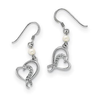 925 Sterling Silver Dangle Polished Gift Boxed Shepherd hook Rhodium plated Freshwater Cultured Pearl and CZ Cubic Zirco