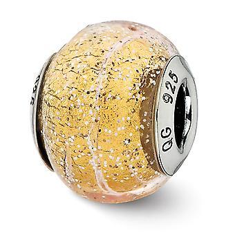 925 Sterling Silver finish Italian Murano Glass Reflections Italian Dark Yellow With Glitter Glass Bead Charm Pendant Ne