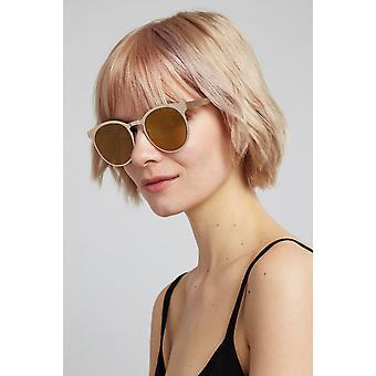 Louche Kiko Gold Round Metal Sunglasses Gold