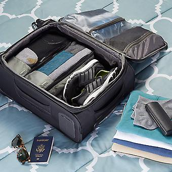 AmazonBasics 4 Piece Packing Travel Organizer Cubes Set - Slim,, Gray, Size Slim