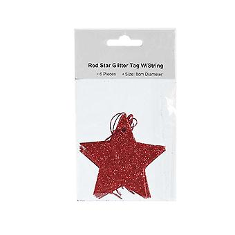 6 Star Shaped Red Glitter Hanging Gift Tags for Gift Wrapping