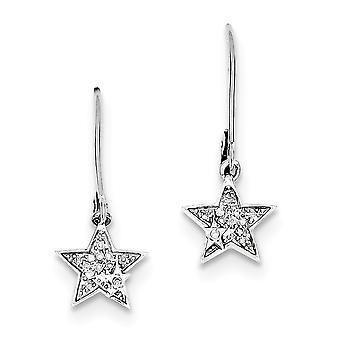 925 sterlinghopea dangle kiillotettu post korvakorut rhodium kullattu rhodium kullattu diamond star leverback korvakorut korut