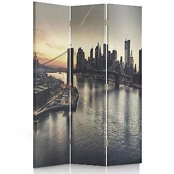 Raumteiler, 3 Paneele, Doppelseitig, 360 ° Drehbar, Leinwand, Brooklyn Bridge In New York City