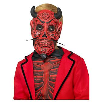 Childrens Day of the Dead Devil Mask Halloween Fancy Dress Accessory