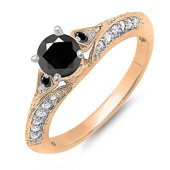 Dazzlingrock Collection 0,85 Carat (ctw) 10K runde svart & hvit diamant Ladies Engagement ring, rose gull