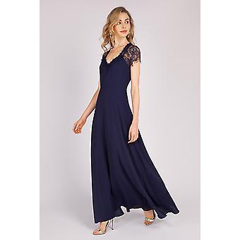 Louche Luxe Alissa Lace Maxi Dress Navy