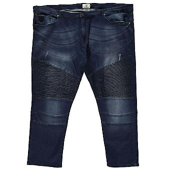 D555 Mens Gents Abrams Casual Wash Effect Biker Cotton Jeans Trousers Bottoms