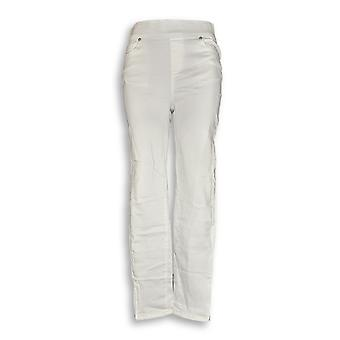 Martha Stewart Women's Jeans Knit Denim Ankle Jeans White A351436