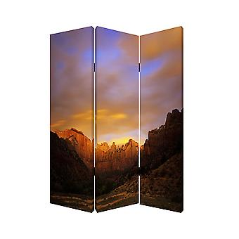 "1"" x 48"" x 72"" Multi Color Wood Canvas Desert  Screen"