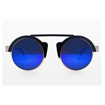Spitfire zonnebrillen van wereld zwart zilver blauwe spiegel