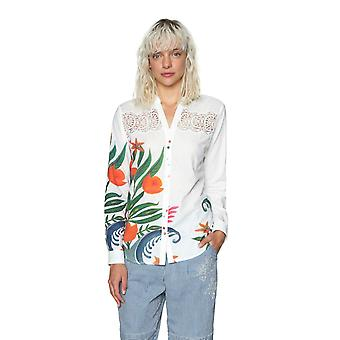 Desigual Women-apos;s A Theory of Fun Hand Drawn Flower Design Shirt
