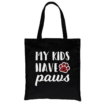 My Kids Have Paws Canvas Bag Black Heavy Cotton Funny Dog Mom Gifts
