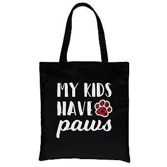 Lapseni ovat tassut kankaalle laukku musta raskas puuvilla hauska koira äiti lahjoja