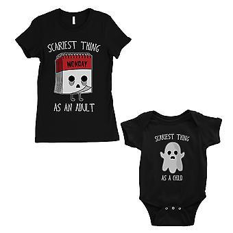 Najstraszniejszy jak dorosłe dziecko mama i dziecko pasujące prezent t-shirty czarny