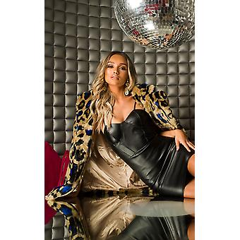 IKRUSH mujeres Lara Leopard Print Faux Fur Coat