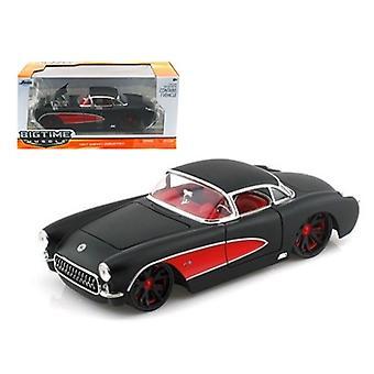 1957 Chevrolet Corvette Hard Top Primered Black With Red 1/24 Diecast Model Car par Jada