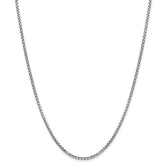 14k White Gold 2.45mm Hollow Round Box Chain Necklace Jewelry Gifts for Women - Length: 18 to 30