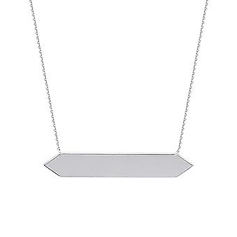 14k White Gold Adjustable Hexagon Bar Necklace Sparkle Cut Cable 18 Inch Jewelry Gifts for Women