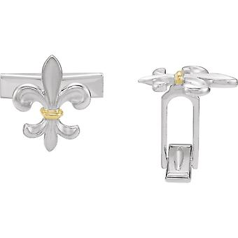 925 Sterling Silver Polished Fleur De Lis Cuff Links Jewelry Gifts for Men - 6.3 Grams