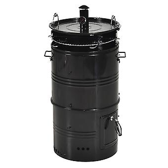 Outsunny Vertical Charcoal Smoker, Removable BBQ Grill with Cover for Smoking Outdoor Picnic Camping, Black