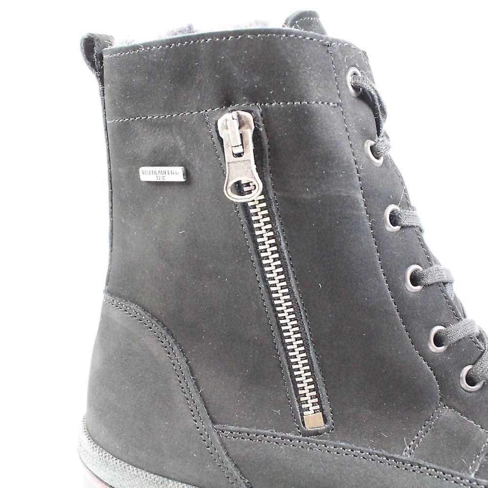 Waldläufer Hadessa 395972 191 001 Black Nubuck Leather Womens Wide Fit Warm Winter Boots H8FsJW