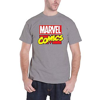 Marvel Comics Mens T Shirt Grey Vintage Retro Classic Block Logo Official