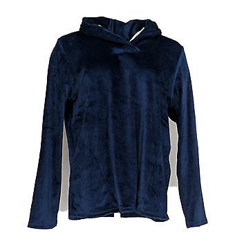 Cuddl Duds Frauen's Petite Pyjama Top Ultra Plüsch samt Fleece blau A369297