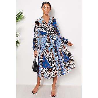 Robe Midi d'impression de léopard floral