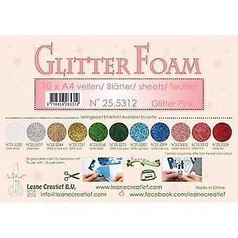 Leane Creatief Glitter Foam Sheets A4 Glitter Pink