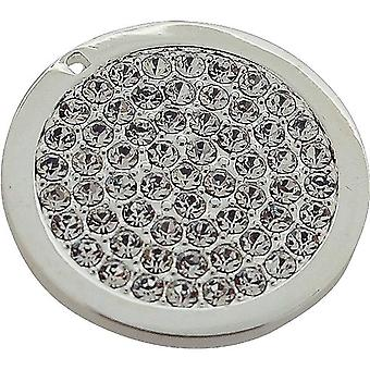 TOC Silvertone Clear Ice Rhinestone Coin for Interchangeable Locket Pendant
