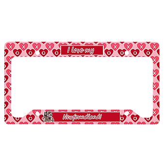 Newfoundland Valentine's Love and Hearts License Plate Frame