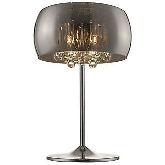 Lente verlichting - Ludlow chroom en Crystal tafellamp met gerookte glas schaduw MBNC028DI3UBCM