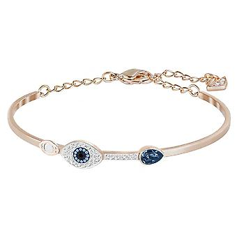 Swarovski Duo Evil Eye Rose Gold Tone Plated With Blue & Clear Crystal Bangle
