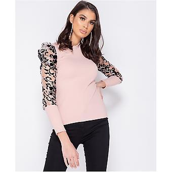 Sheer Flock Print Organza Sleeve High Neck Top - - Pink