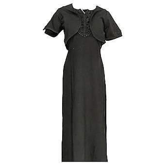 Denim & Co. Dress Crochet Trim Knit Maxi Black A230913