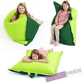 Fun!ture Large Kids Two Tone Bean Bag 4 Way Lounger GIANT Childrens BeanBag Outdoor Floor Cushion 100% waterbestendig 100cm x 120cm Kleur: Lime & Green