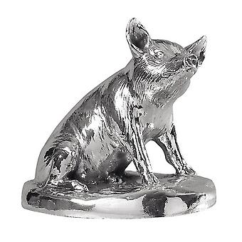 Orton West Sitting Pig Ornament - Silver