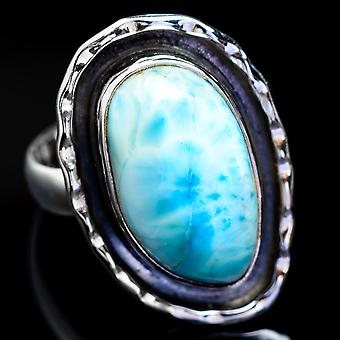 Larimar Ring Size 7.5 (925 Sterling Silver)  - Handmade Boho Vintage Jewelry RING4617